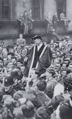 Alastair Sim after being installed as Lord Rector of Edinburgh University in 1949